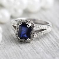 Auriya 18k White Gold 2ct Emerald Cut Sapphire and 1/2ctw Halo Diamond Engagement Ring