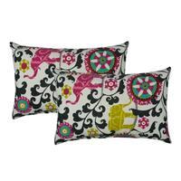 Sherry Kline Elephant Parade Black Outdoor BoudoirThrow Pillow (Set of 2)
