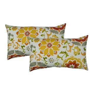Sherry Kline Flower Power Orange Outdoor BoudoirThrow Pillow (Set of 2)