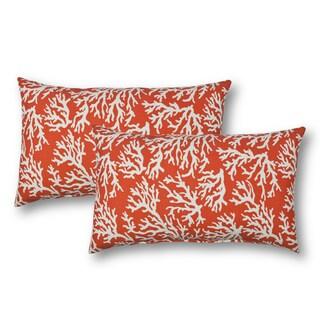 Sherry Kline Coral Reef Orange Outdoor BoudoirThrow Pillow (Set of 2)