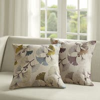 Madison Park Gingko Bloom Linen Embroidered Square 20 inch Throw Pillow