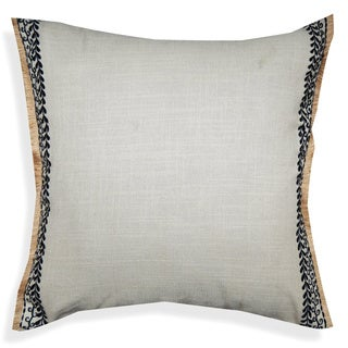 A1HC Off-white Cotton 20-inch Embroidered Bordered Throw Pillow