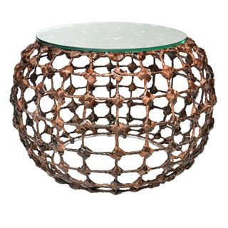Bernard Brown Seagrass and Glass Round Coffee Table