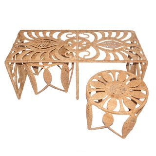 Charlotte Natural Seagrass Table and Stool Set