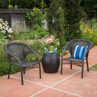 Leon Outdoor 3-Piece Wicker Chat Set by Christopher Knight Home