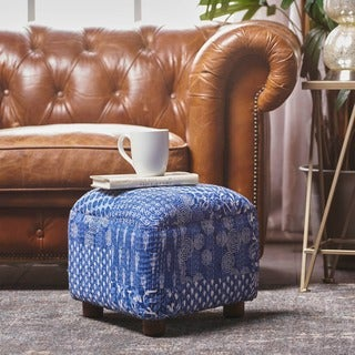Darya Patterned Fabric Triangle Ottoman Stool by Christopher Knight Home