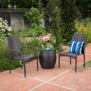 Buchanan Outdoor 3-Piece Wicker Chat Set by Christopher Knight Home