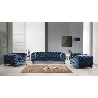 Portaleno Modern Blue Fabric Tufted Living Room Collection