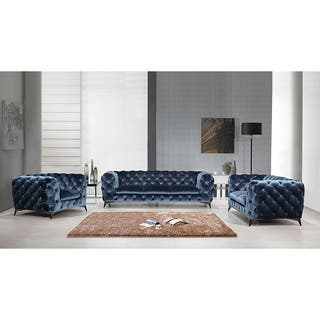 portaleno modern blue fabric tufted living room set - Bedroom And Living Room Sets