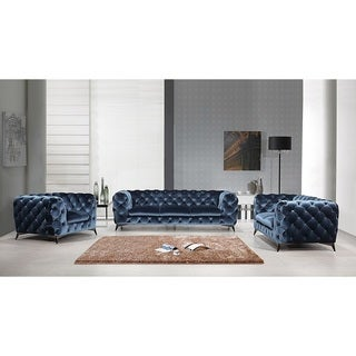 Elegant Portaleno Modern Blue Fabric Tufted Living Room Set
