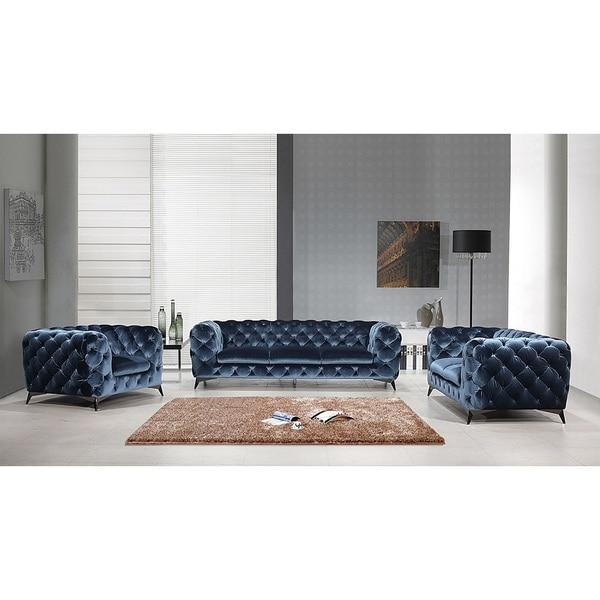 Beautiful Portaleno Modern Blue Fabric Tufted Living Room Set