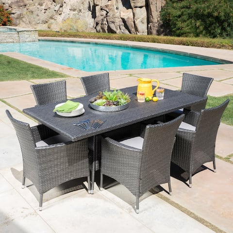 Malta Outdoor 7 Piece Rectangle Wicker Dining Set With Cushions By Christopher Knight Home