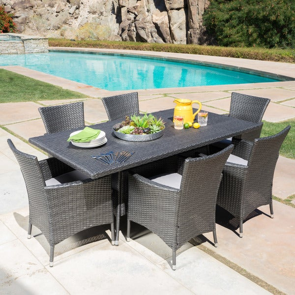 shop malta outdoor 7 piece rectangle wicker dining set with cushions by christopher knight home. Black Bedroom Furniture Sets. Home Design Ideas