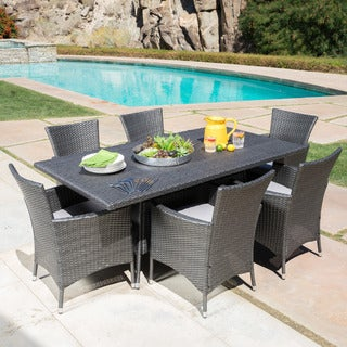 Malta Outdoor Transitional 7 Piece Wicker Dining Set with Water-Resistant Cushions by Christopher Knight Home