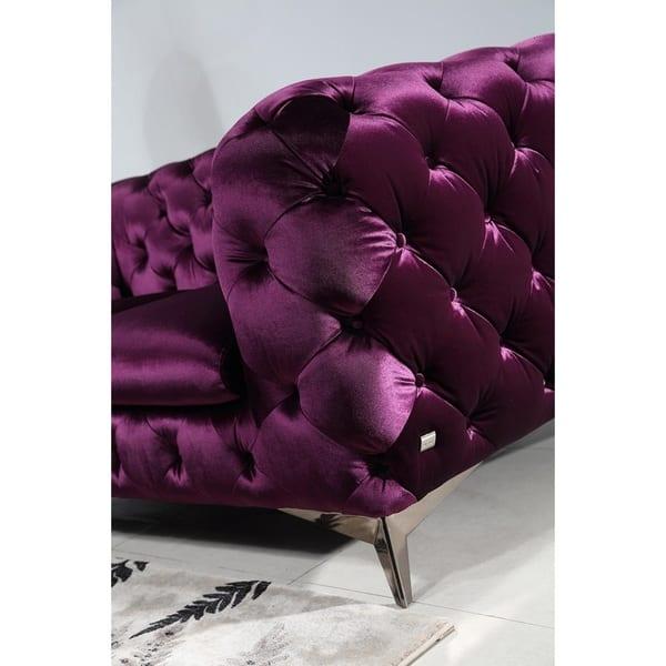 Shop Portaleno Modern Purple Fabric Tufted Living Room Set