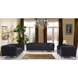 Portaleno Modern Black Fabric Tufted Living Room Set