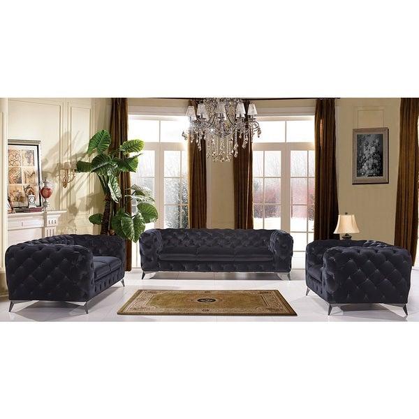 Shop Portaleno Modern Black Fabric Tufted Living Room Set