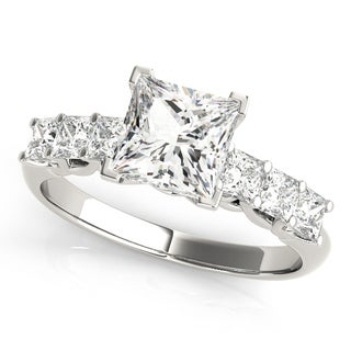 14k White Gold Diamond Princess-cut Engagement Ring (1.60ct)