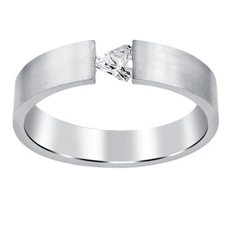 Orchid Jewelry High Polished CZ Studded For Stylish Men In Silver Plating Stainless Steel Band Ring