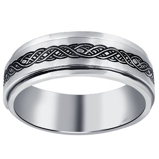 Orchid Jewelry Men's Stainless Steel High Polished Celtic Knot Design Band Ring