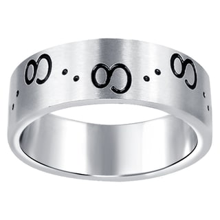 Orchid Jewelry Men's Stainless Steel High Polished Engraved Wedding Band Ring