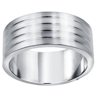 Orchid Jewelry Men's Stainless Steel High Polished Textured Wedding Band Ring