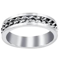 Orchid Jewelry Men's Brushed Stainless Steel Center Chain Comfort Fit Ring