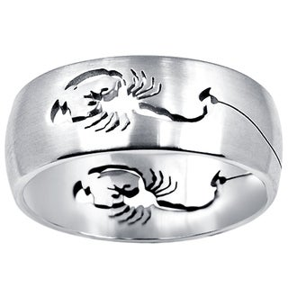 Orchid Jewelry Men's Stainless Steel High Polished Cancer Horoscope Design Band Ring