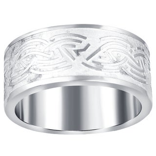Orchid Jewelry Men's Stainless Steel High Polished Tribal Knot Textured Band Ring