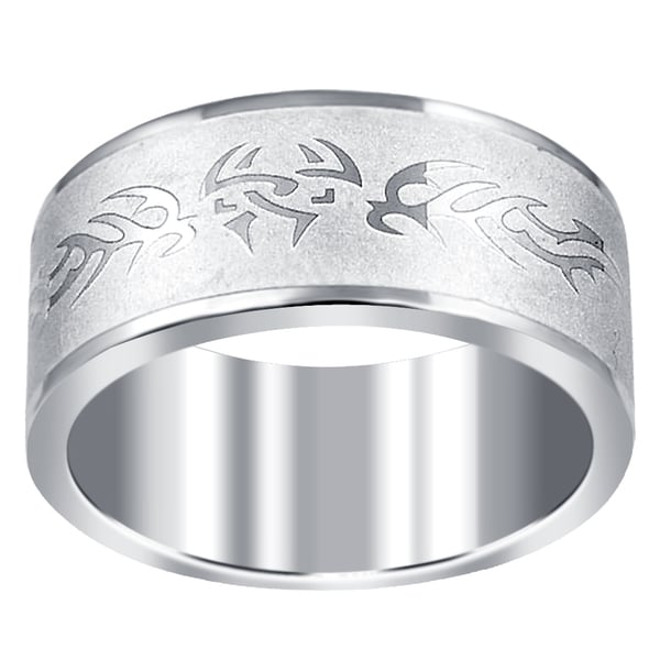 Orchid Jewelry Men X27 S Stainless Steel High Polished Tribal Wedding Band Ring