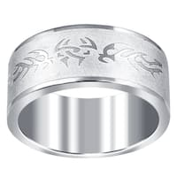 Orchid Jewelry Men's Stainless Steel High Polished Tribal Wedding Band Ring