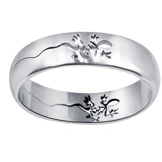 Orchid Jewelry Men's Stainless Steel High Polished Lizard Engraved Band Ring