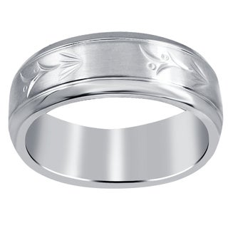 Orchid Jewelry Men's Stainless Steel High Polished Engraved Leaf Wedding Band Ring