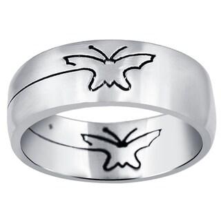 Orchid Jewelry Men's Stainless Steel High Polished Wedding Butterfly Band Ring