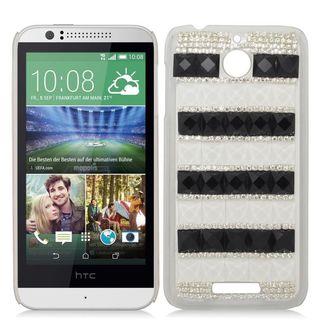 Insten White/ Black 3D Hard Snap-on Diamond Bling Case Cover For HTC Desire 510