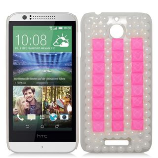 Insten White/ Pink 3D Hard Snap-on Rhinestone Bling Case Cover For HTC Desire 510