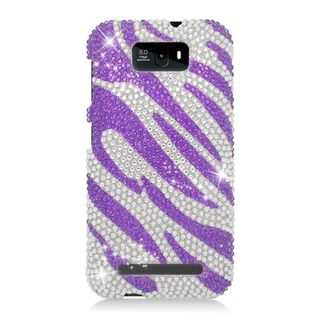 Insten Purple/ Silver Zebra Hard Snap-on Rhinestone Bling Case Cover For BLU Studio 5.5