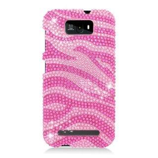 Insten Hot Pink Zebra Hard Snap-on Diamond Bling Case Cover For BLU Studio 5.5