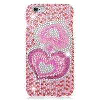 Insten Pink Hearts Hard Snap-on Rhinestone Bling Case Cover For Apple iPhone 6 Plus/ 6s Plus