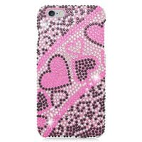 Insten Pink/ Black Hearts Hard Snap-on Rhinestone Bling Case Cover For Apple iPhone 6 Plus/ 6s Plus