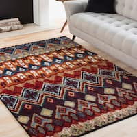 "Lola Multicolored Tribal Bohemian Area Rug - 7'10"" x 10'6"""
