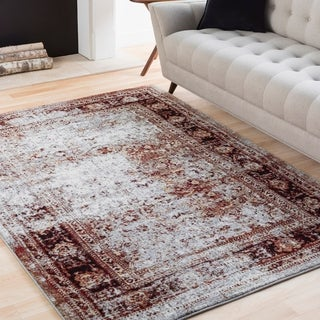 Elise Light Grey & Red Weathered Traditional Rug (6'7 x 9'6)