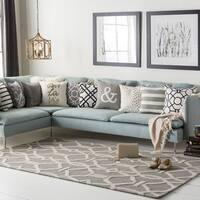Colonial Home Grey Geometric Handmade Area Rug - 7'6 x 9'6