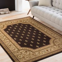 Colonial Home Black Traditional Oriental Area Rug - 6'7 x 9'6