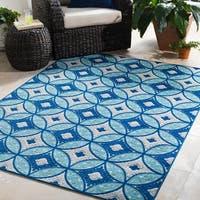Trocadero Blue Bohemian Geometric Area Rug (7'10 x 10'3)