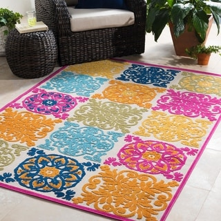 "Trocadero Contemporary Medallion Indoor/ Outdoor Area Rug - 7'10"" x 10'3"""