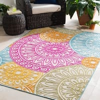 "Trocadero Pink Indoor/ Outdoor Medallion Area Rug - 7'10"" x 10'3"""