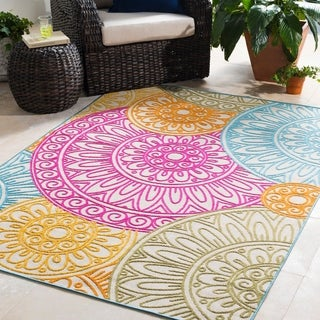 "Trocadero Pink Contemporary Medallion Area Rug - 7'10"" x 10'3"""