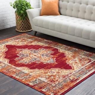 "Haute Hali Red Vintage Floral Area Rug (7'10 x 10'3) - 7'10"" x 10'3"""
