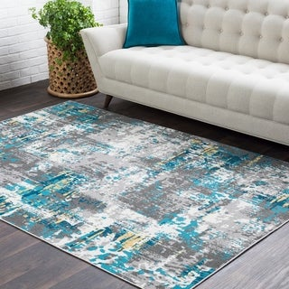 "Trocadero Blue Contemporary Abstract Area Rug - 7'10"" x 10'3"""